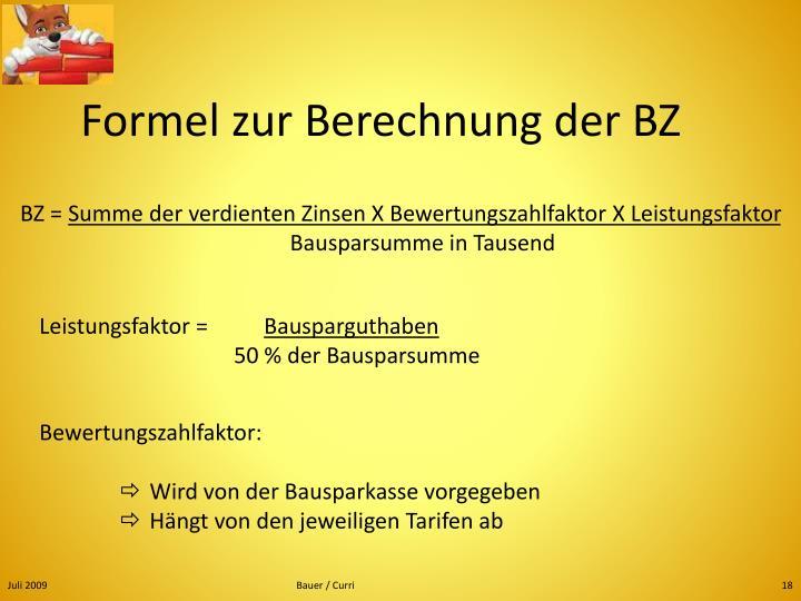 Formel zur Berechnung der BZ