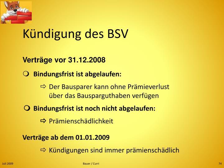 Kündigung des BSV