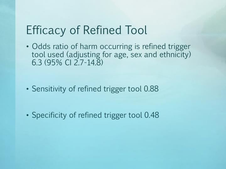 Efficacy of Refined Tool