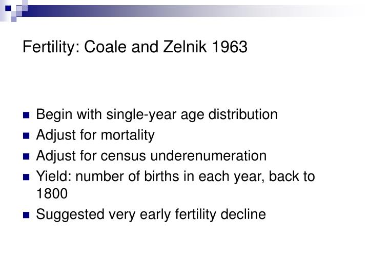 Fertility coale and zelnik 1963