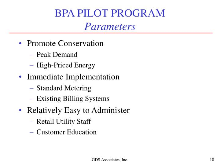 BPA PILOT PROGRAM