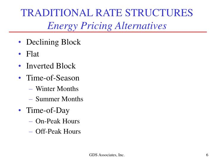 TRADITIONAL RATE STRUCTURES