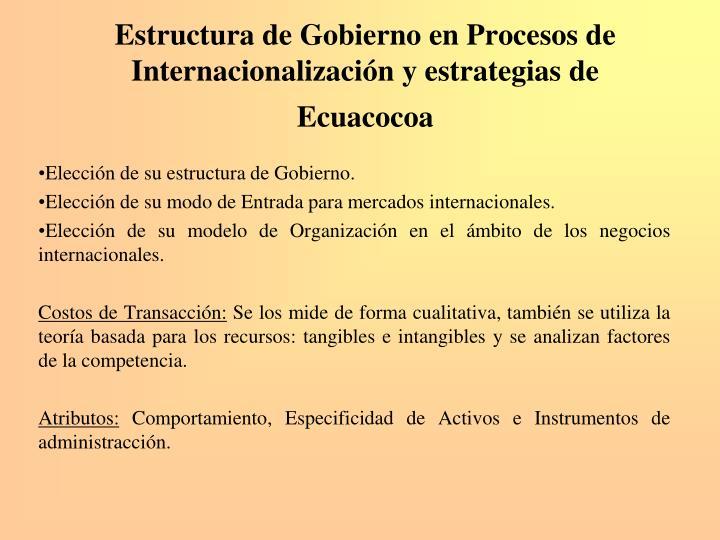 Estructura de Gobierno en Procesos de Internacionalización y estrategias de Ecuacocoa