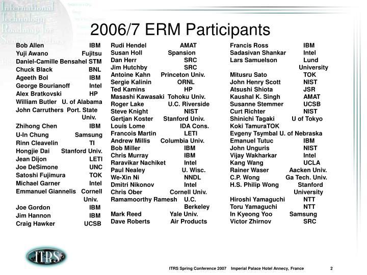 2006/7 ERM Participants
