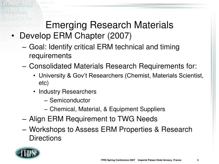 Emerging research materials