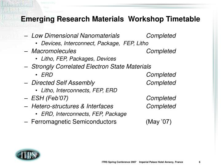 Emerging Research Materials  Workshop Timetable