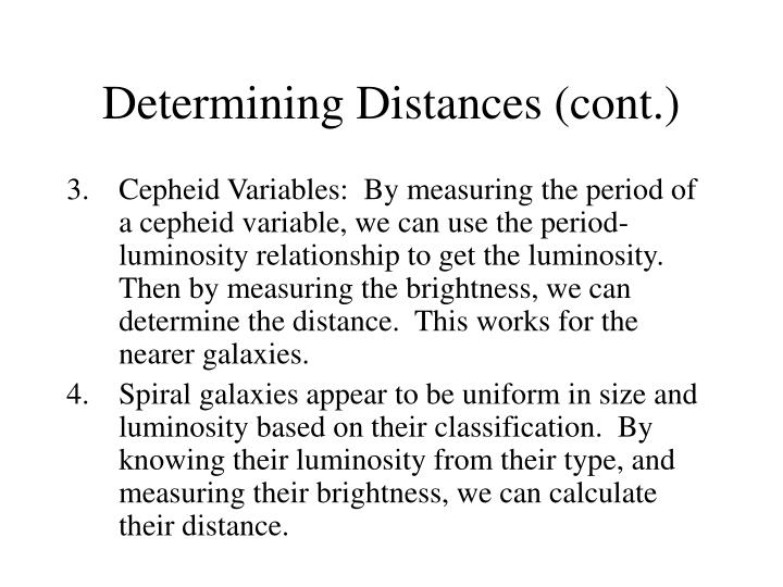 Determining Distances (cont.)