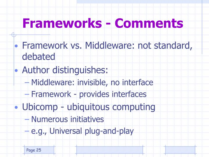 Frameworks - Comments