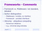 frameworks comments
