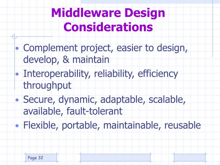 Middleware Design Considerations