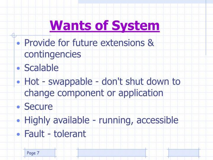 Wants of System