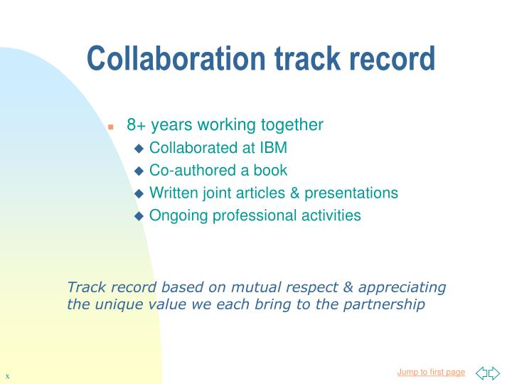 Collaboration track record