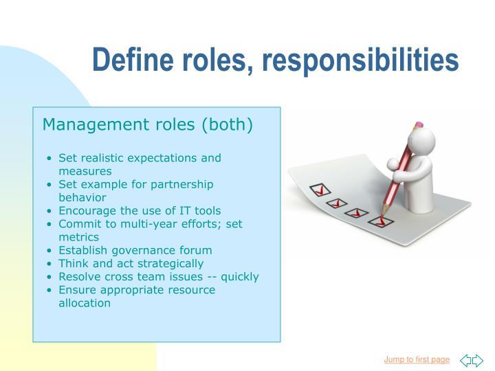 Define roles, responsibilities