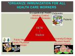 organize immunization for all health care workers