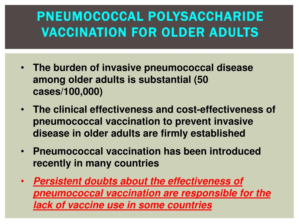 Pneumococcal Polysaccharide Vaccination for Older Adults