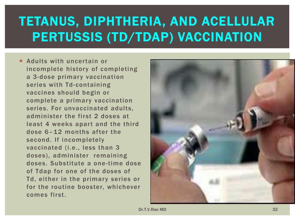Tetanus, diphtheria, and acellular pertussis (Td/Tdap) vaccination