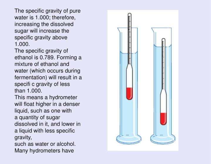 The specific gravity of pure water is 1.000; therefore, increasing the dissolved