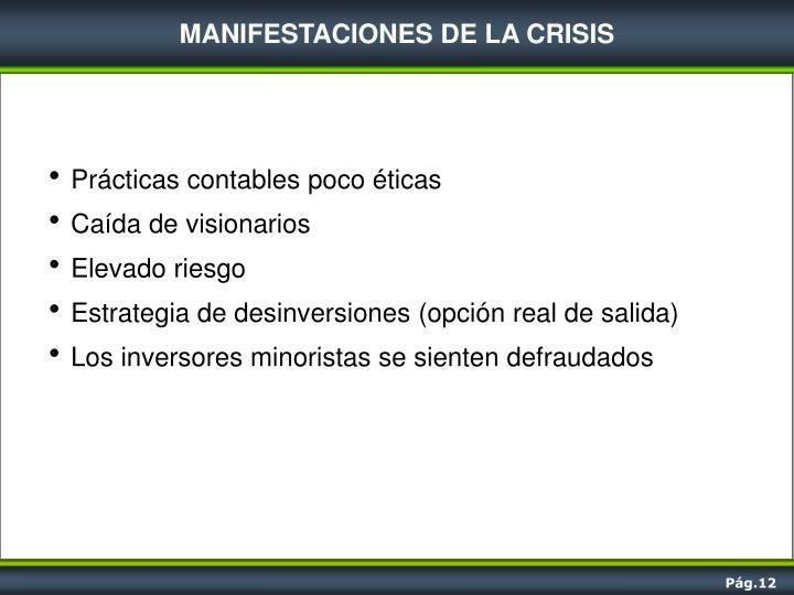 MANIFESTACIONES DE LA CRISIS