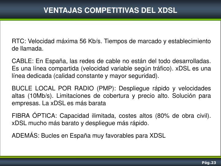 VENTAJAS COMPETITIVAS DEL XDSL