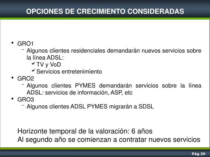 OPCIONES DE CRECIMIENTO CONSIDERADAS