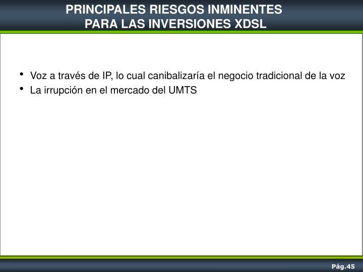 PRINCIPALES RIESGOS INMINENTES