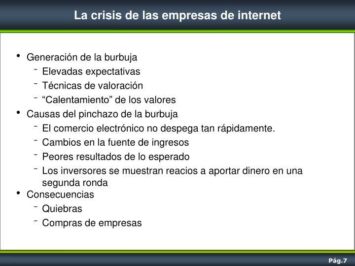 La crisis de las empresas de internet