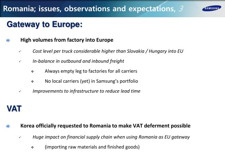 Romania; issues, observations and expectations,