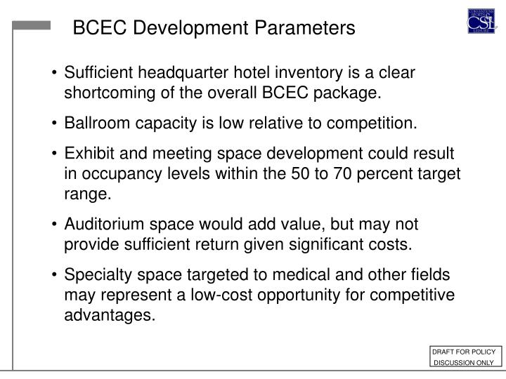 BCEC Development Parameters
