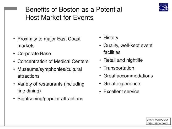Benefits of Boston as a Potential Host Market for Events
