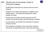 broad view of convention center economic impacts