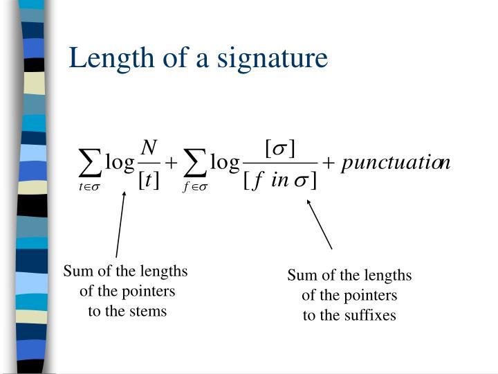 Length of a signature