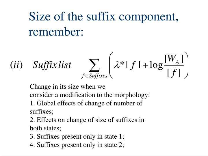 Size of the suffix component,