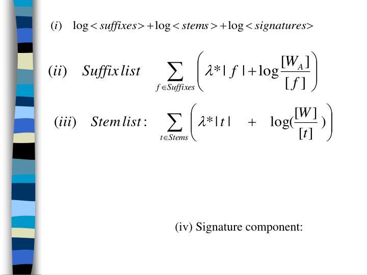 (iv) Signature component: