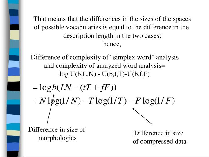 That means that the differences in the sizes of the spaces