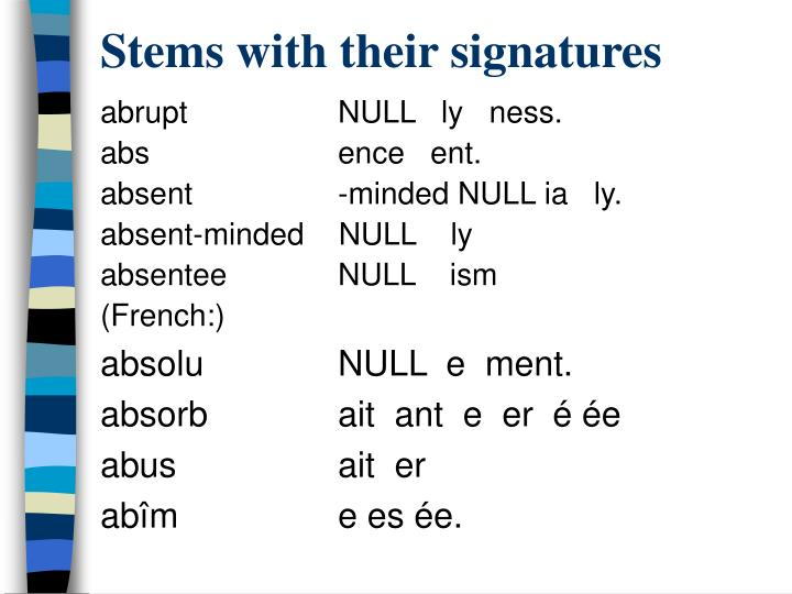 Stems with their signatures