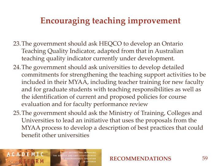 Encouraging teaching improvement