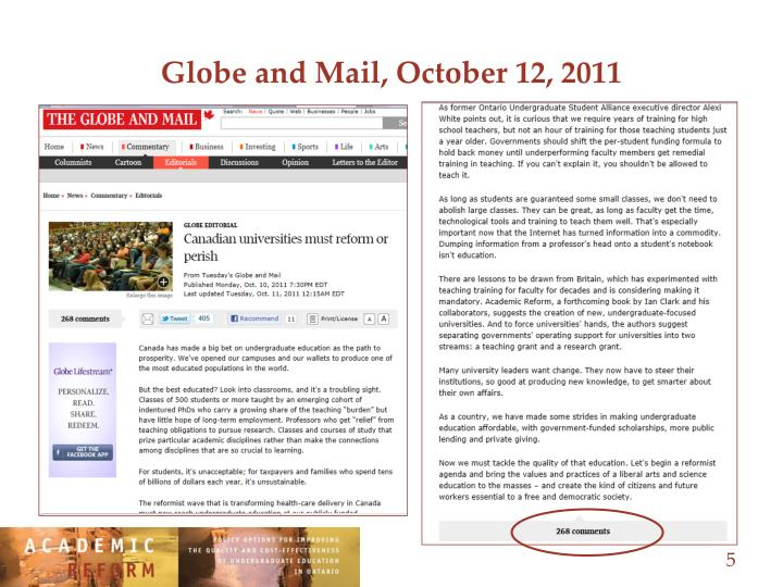 Globe and Mail, October 12, 2011