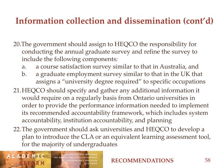 Information collection and dissemination (cont'd)