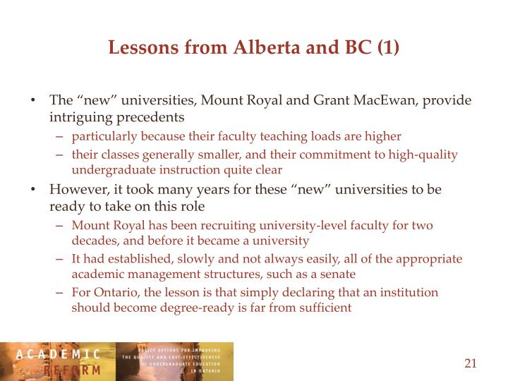 Lessons from Alberta and BC (1)