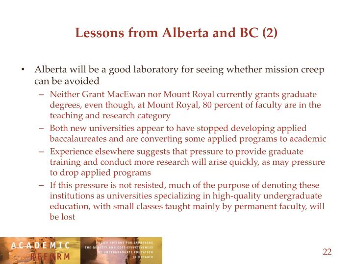 Lessons from Alberta and BC (2)