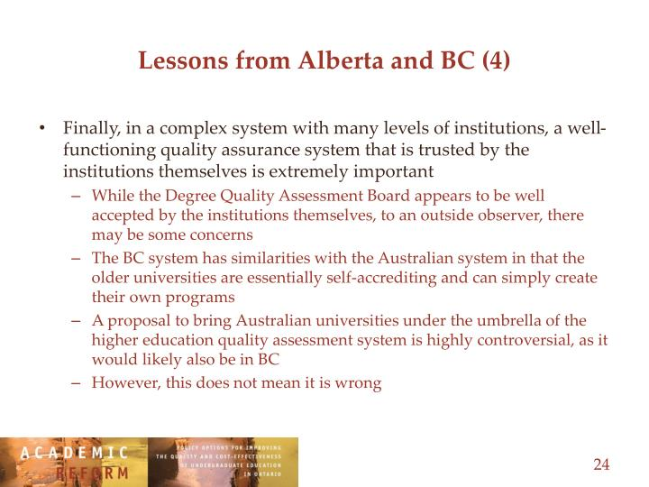 Lessons from Alberta and BC (4)