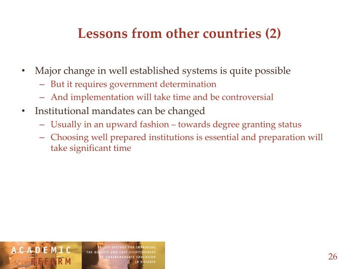 Lessons from other countries (2)