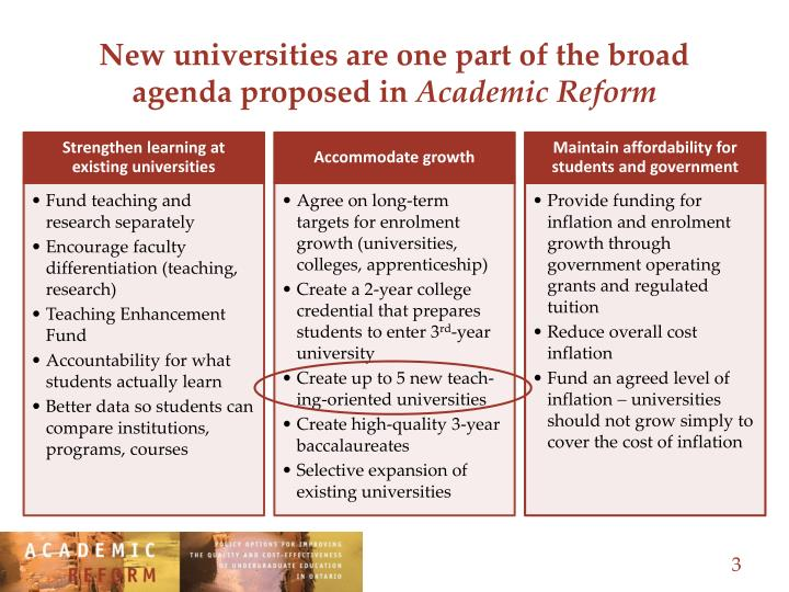 New universities are one part of the broad agenda proposed in