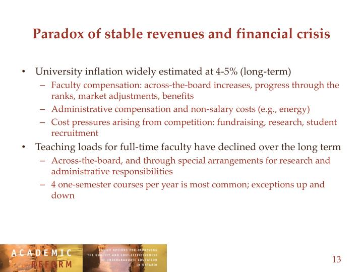 Paradox of stable revenues and financial crisis