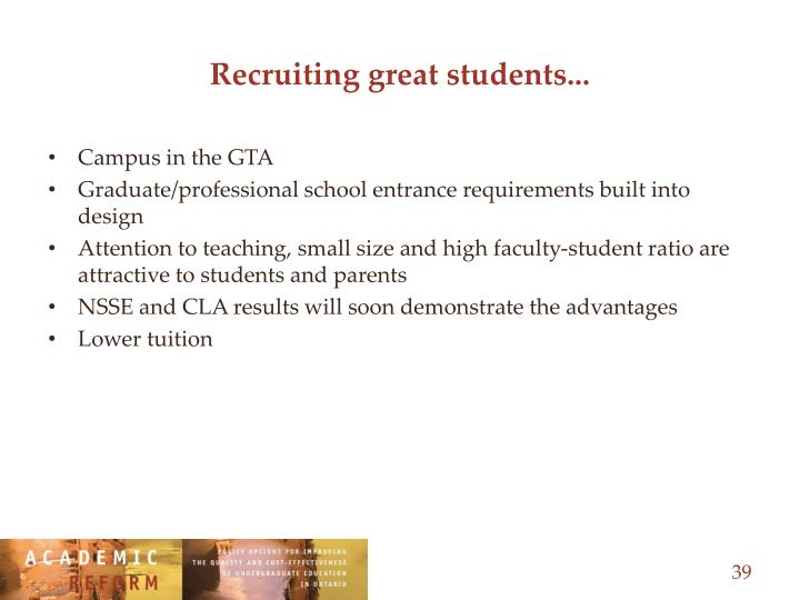 Recruiting great students...