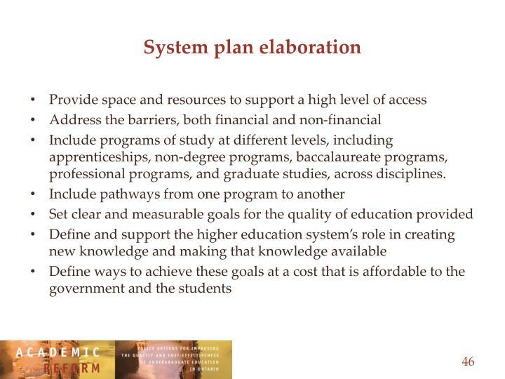 System plan elaboration
