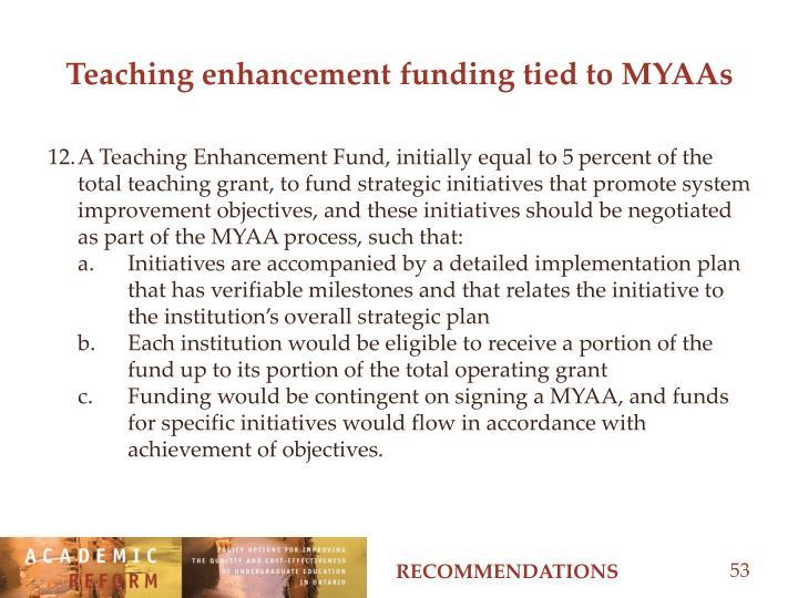 Teaching enhancement funding tied to MYAAs