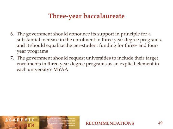 Three-year baccalaureate
