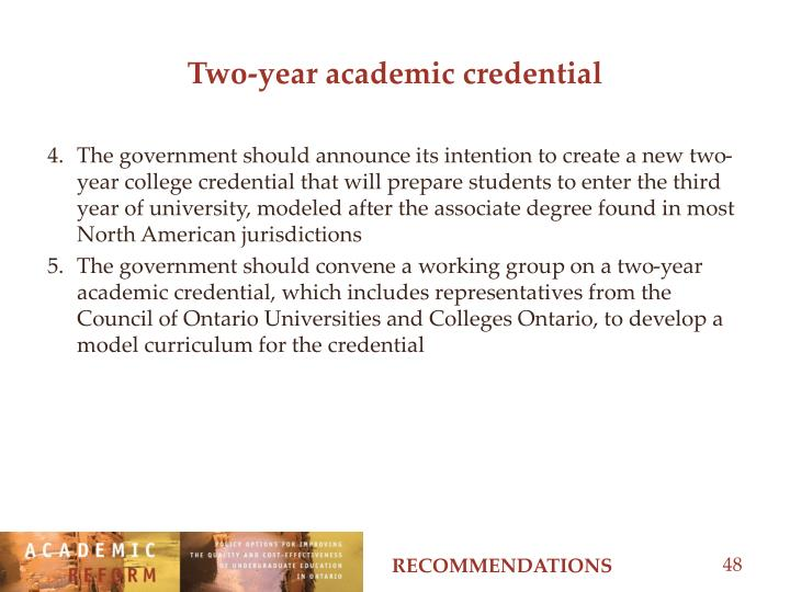 Two-year academic credential
