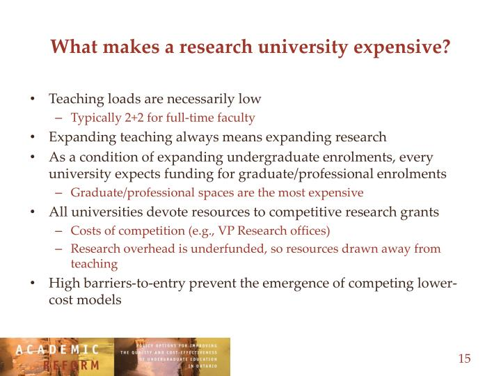 What makes a research university expensive?